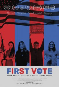 First Vote film poster - 4 alternative red and blue lines with one person in each column