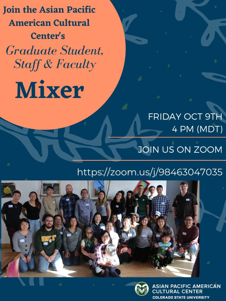 Poster with text in caption, photo of previous mixer of 27 people mostly smiling
